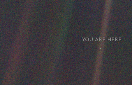 Pale Blue Dot by Voyager 1, via Wikimedia Commons